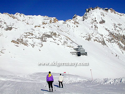 The top station on the Zugspitze ski area in Germany