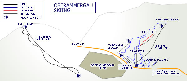 Oberammergau Ski Map, Germany